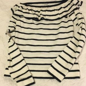 NWT jcrew factory ruffle off the shoulder sweater